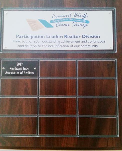 The Southwest Iowa Association of REALTORS earned the Travelling Plaque for Participation Leader: REALTOR Division